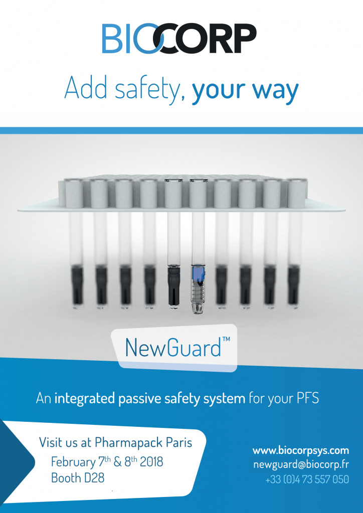 NewGuard passive safety system for prefilled syringes Pharmapack